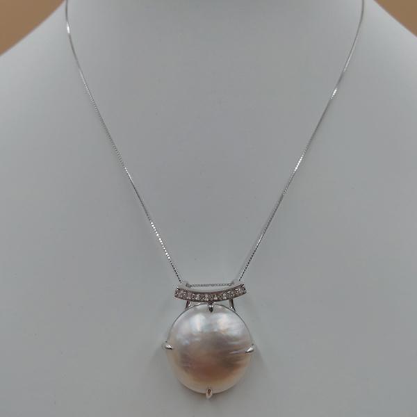 日本製真珠でこの価格はお買い得 [再販ご予約限定送料無料] 送料無料 レデュース 白蝶真珠 付与 SV950 マベ P22mm ジルコンペンダントトップ Pd ZI0.40Ct