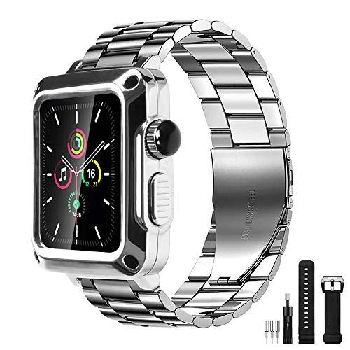 HUALIMEI Apple Watch シリーズ6 SE 5 4バンド用メタルケース44mm 3用ガラスフィルムストラップ42mm 40mmメンズミリタリープロテクティブカバーiwatch 40mm 銀 40mm耐衝撃ウォッチケース 引き出物 2 美品