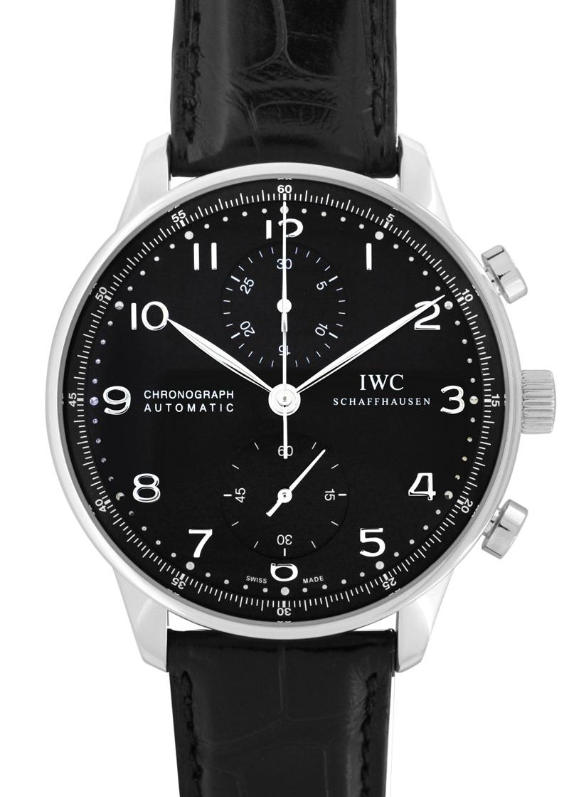 IWC IW371447 ポルトギーゼ クロノグラフ SS 黒文字盤 自動巻 レザー