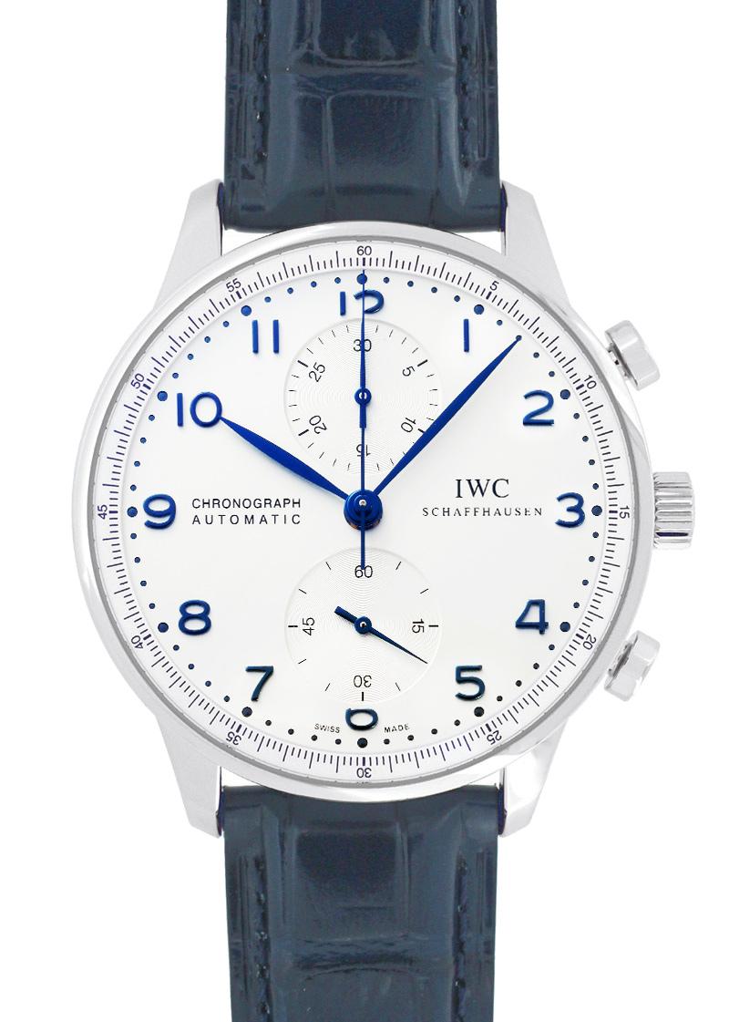IWC IW371446 ポルトギーゼ クロノグラフ SS シルバー文字盤/青針 自動巻 レザー