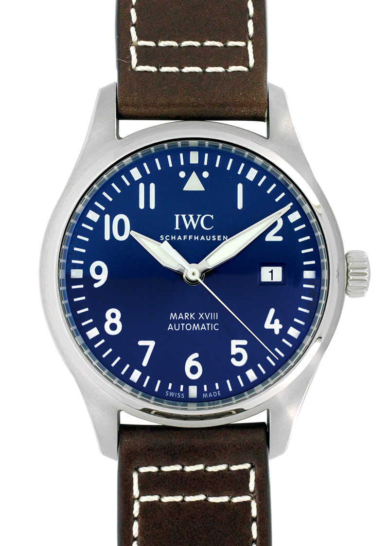 IWC IW327010(IW327004)パイロットウォッチ マークXVIII プティプランス SS ブルー文字盤 自動巻き レザー