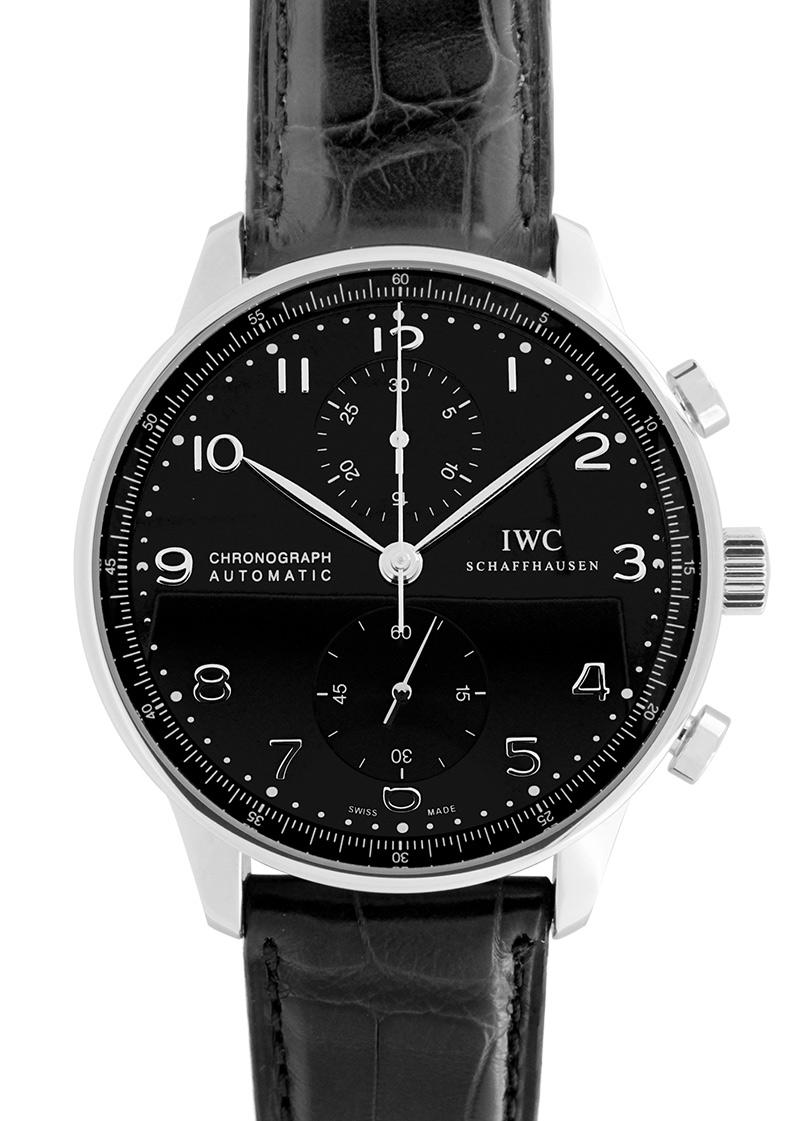 IWC IW371447 ポルトギーゼ クロノグラフ SS 黒文字盤 自動巻き レザー