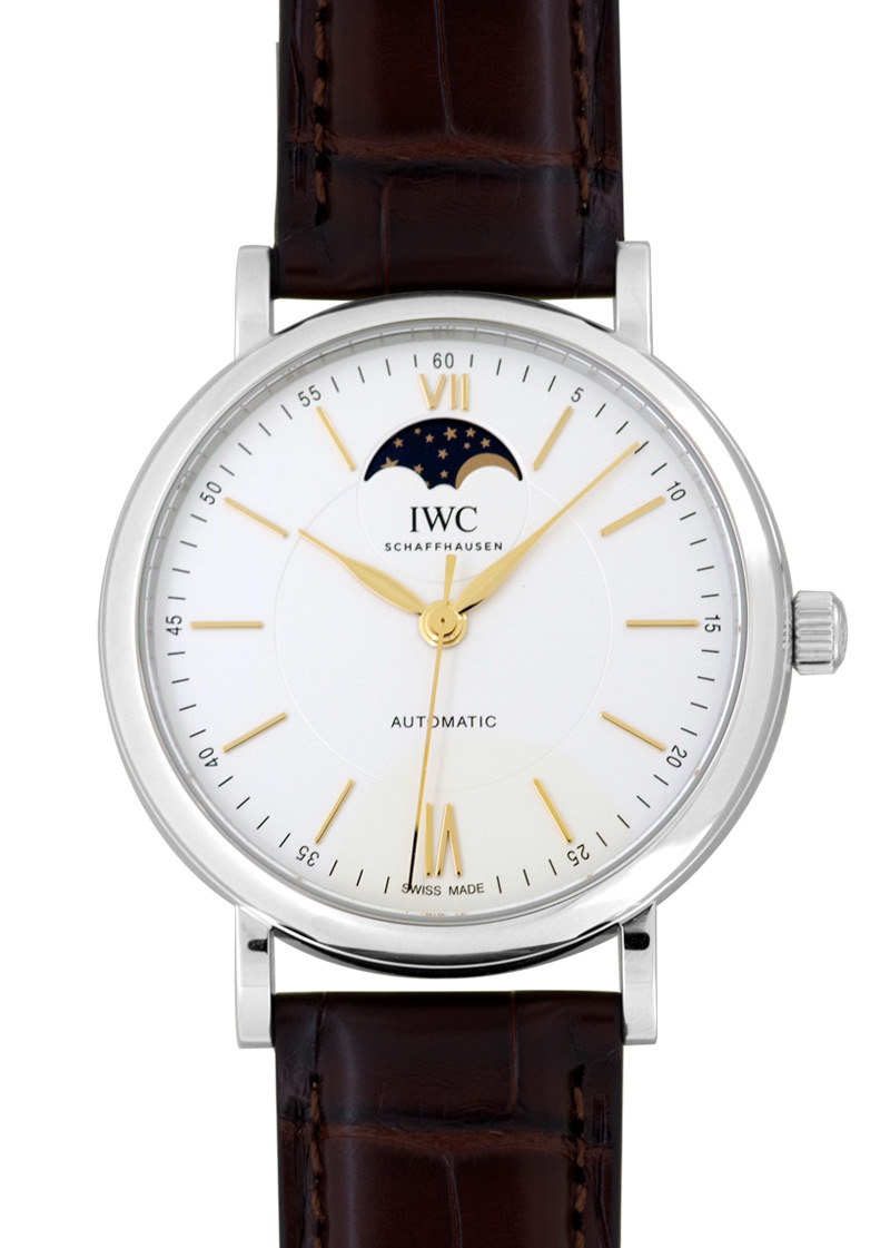 IWC IW459401 ポートフィノ オートマティック ムーンフェイズ SS シルバー文字盤 自動巻き レザー