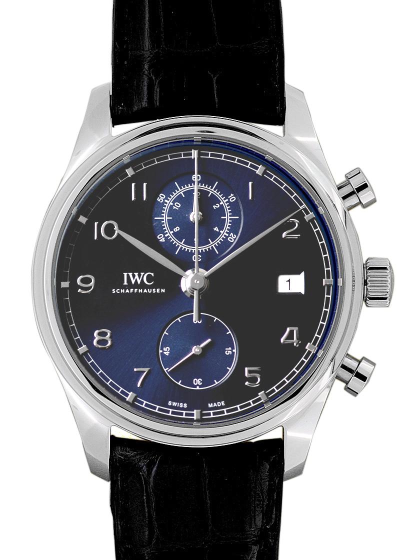 IWC IW390303 ポルトギーゼ クロノグラフ クラシック SS ブルー文字盤 自動巻き レザー