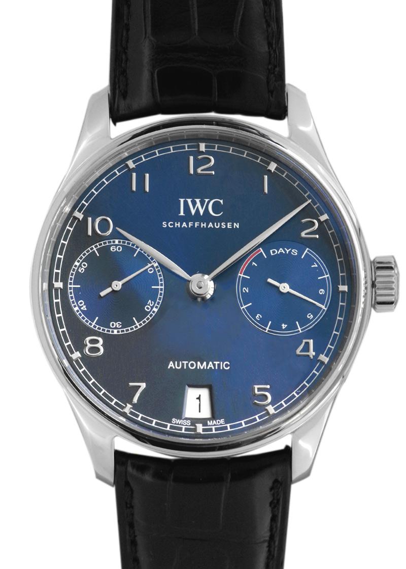 IWC IW500710 ポルトギーゼ・オートマティック SS ブルー文字盤 自動巻き レザー
