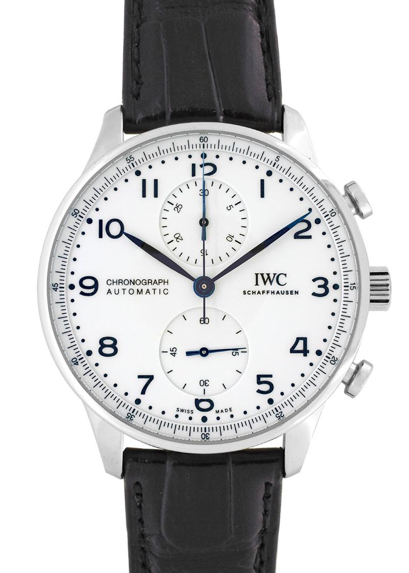 【正規未使用品】IWC IW371602 ポルトギーゼ クロノグラフ 150イヤーズ SS 白文字盤/青針 自動巻き レザー
