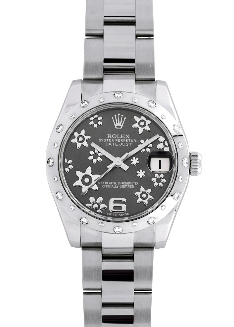 【中古】ロレックス 178344 レディース デイトジャスト31 ダイヤモンド ベゼル SS&WG グレーフラワー文字盤 自動巻き ブレスレット