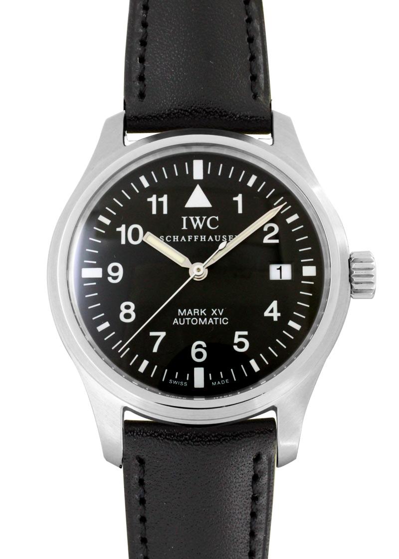 【希少モデル】【魚リューズ】IWC IW325301 マークXV SS 黒文字盤 自動巻き レザー【中古】