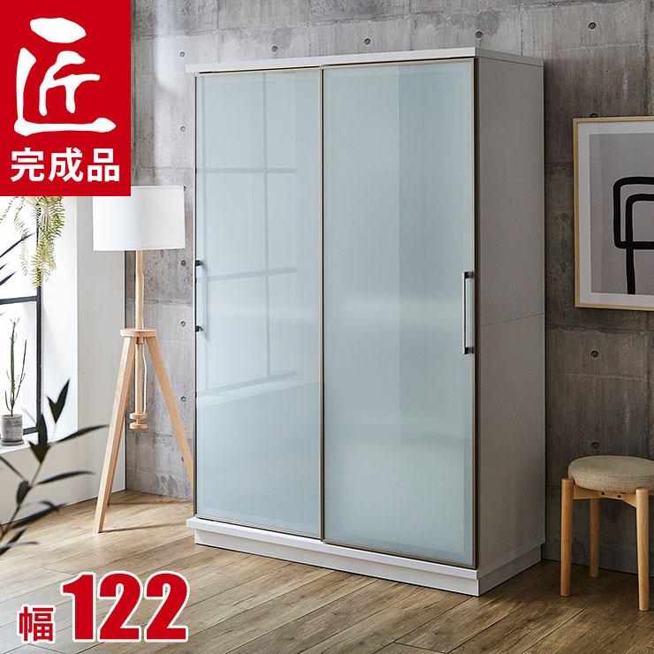 食器棚 引き戸 完成品 レンジ台 122 キッチンボード ホワイト 両ガラス扉 収納自慢の大型家電ボード カップボード カータレット 幅122cm 完成品 日本製 送料無料