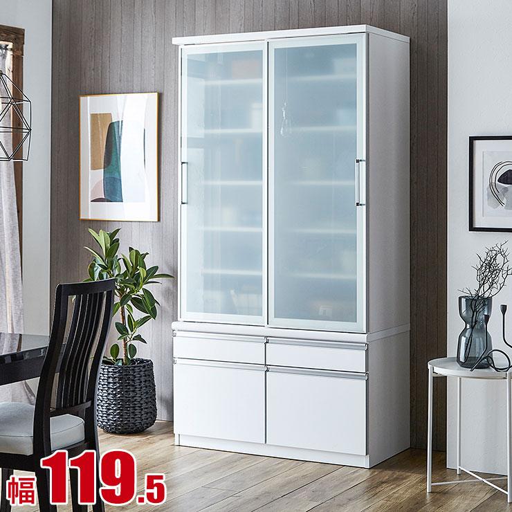 食器棚 収納 引き戸 スライド 完成品 120 ダイニングボード ホワイト 鏡面仕上げにより高級感のある キッチンボード パナシェ 幅119.5 完成品 日本製 送料無料