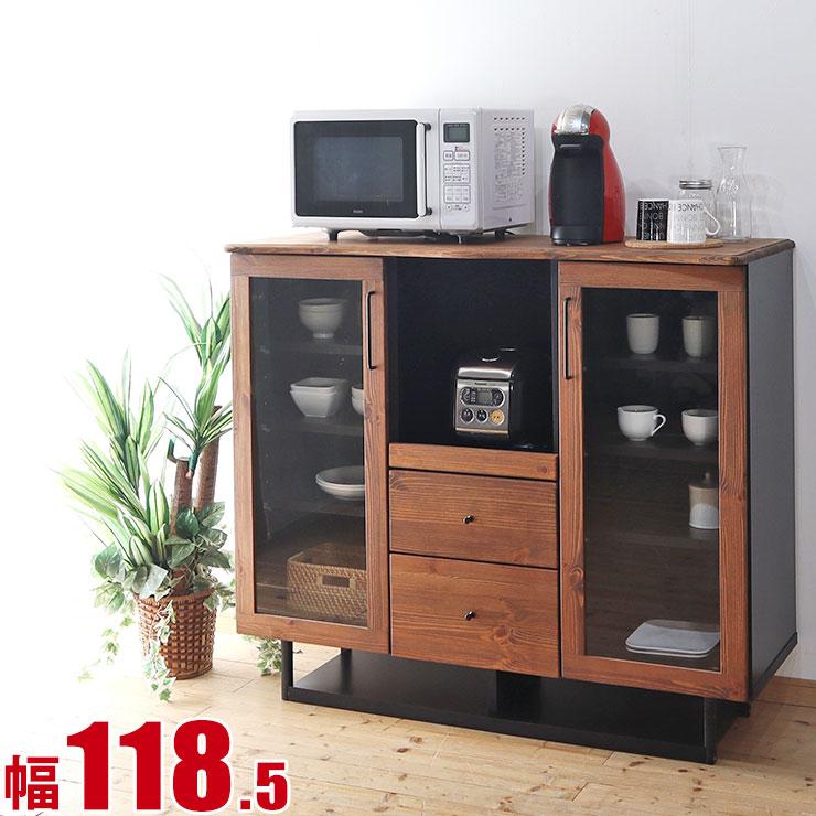 キッチンカウンター 収納 レンジラック 北欧風 カントリー おしゃれ かわいい ハーモニー 幅120 カウンター 完成品 日本製 送料無料