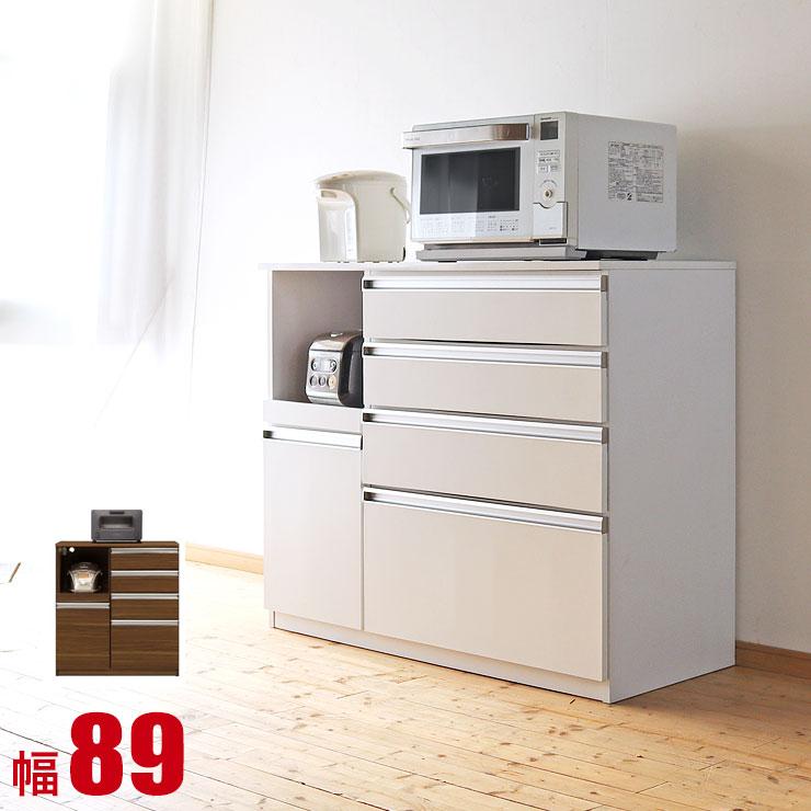 プレスト 90Hカウンター ホワイト ブラウン ナチュラル 完成品 日本製 送料無料