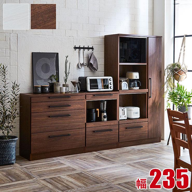 食器棚 レンジ台 キッチン収納 ソリット 3点セット(90レンジボード 85カウンター 60カウンター) ホワイト ブラウン 白 レンジラック 完成品 日本製 送料無料