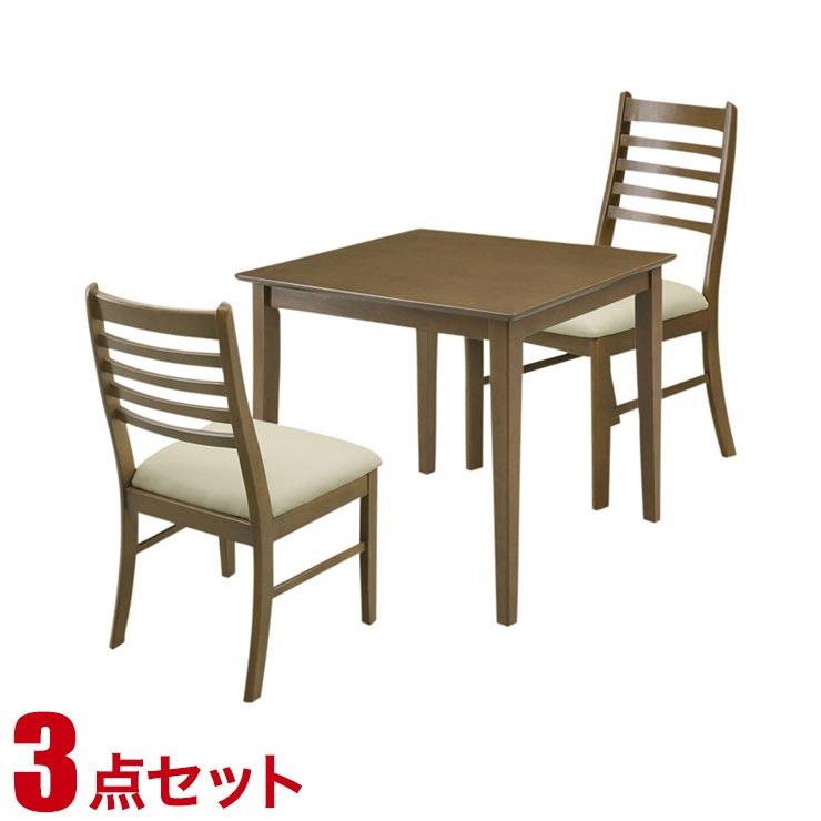 ダイニングテーブルセット 2人掛け シンプル リーズナブル ダイニング 3点セット ジャスト ダークブラウン 幅70cmテーブル チェア2脚 完成品 輸入品 送料無料