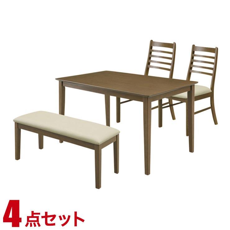 ダイニングテーブルセット 4人掛け シンプル リーズナブル ダイニング 4点セット ジャスト ダークブラウン 幅120cmテーブル 椅子2脚 ベンチ1 完成品 輸入品 送料無料