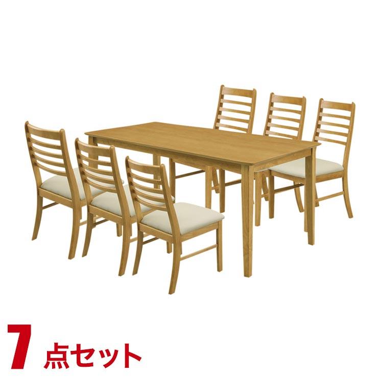 ダイニングテーブルセット 6人掛け シンプル リーズナブル ダイニング 7点セット ジャスト ライトブラウン 幅165cmテーブル チェア6脚 完成品 輸入品 送料無料