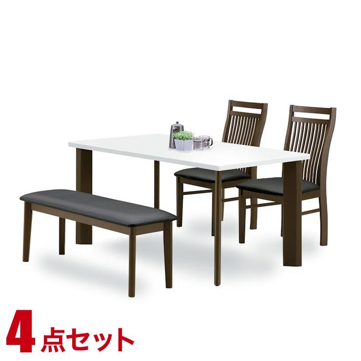 ダイニングテーブルセット 4人掛け おしゃれ ホワイトブラウン ダイニング 4点セット レイナ 幅135cmテーブル 椅子2脚 ベンチ1脚 完成品 輸入品 送料無料