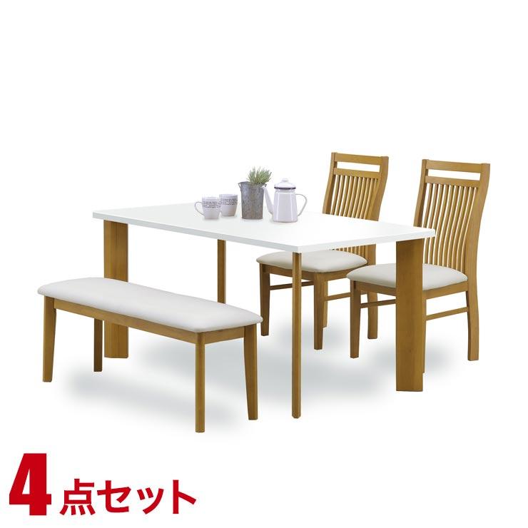 ダイニングテーブルセット 4人掛け おしゃれ ホワイトナチュラル ダイニング 4点セット レイナ 幅135cmテーブル 椅子2脚 ベンチ1脚 完成品 輸入品 送料無料