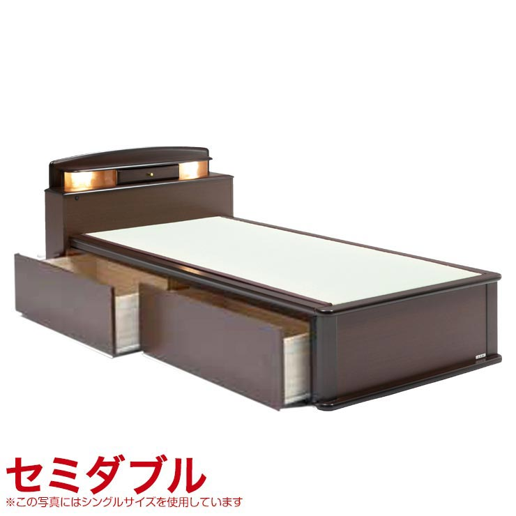 セミダブルベッド フレーム 収納付き 引出し付き 宮付き ベッドフレーム 森の恵みと職人の技が作り出した純国産畳ベッド ナンシー セミダブル 完成品 日本製 送料無料