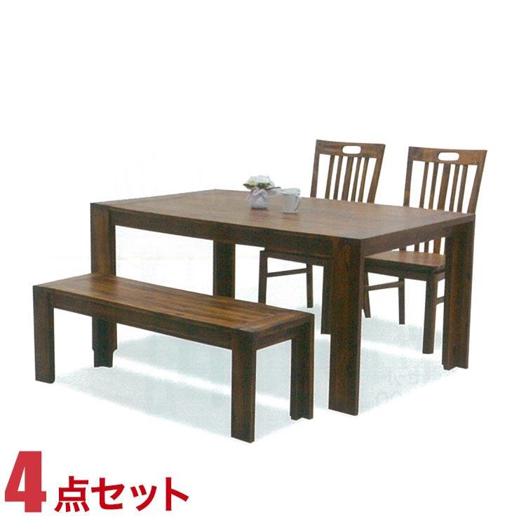 ダイニングテーブルセット 4人掛け アカシアウッド 高級感 カントリー風 テーブル 4点セット テーラー 幅150cmテーブル 椅子2脚 ベンチ1脚 完成品 輸入品 送料無料