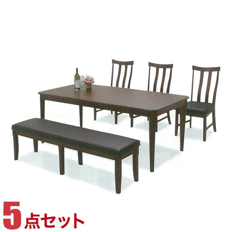 ダイニングテーブルセット 5人掛け 6人掛け テーブル 5点セット ブラウン ベティ 幅180cmテーブル 椅子3脚 幅115cmベンチ1脚 完成品 輸入品 送料無料