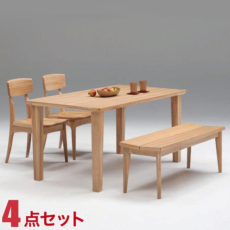 ダイニングテーブルセット 4人掛け ダイニングテーブル ナチュラル タモ ひなげし 和風 4点セット 幅150cmテーブル 椅子2脚 ベンチ 完成品 輸入品 送料無料