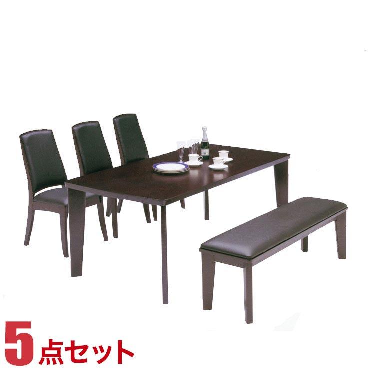 ダイニングテーブルセット 6人掛け ブルゴー ダイニング 5点セット 幅180cmテーブル 椅子3脚 ベンチ1脚 完成品 完成品 輸入品 送料無料