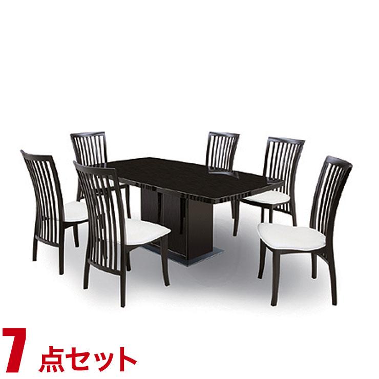 ダイニングテーブルセット 6人掛け モダン ピロウ ダイニング 7点セット 幅170cmテーブル チェア6脚 ブラック 完成品 収納 完成品 輸入品 送料無料