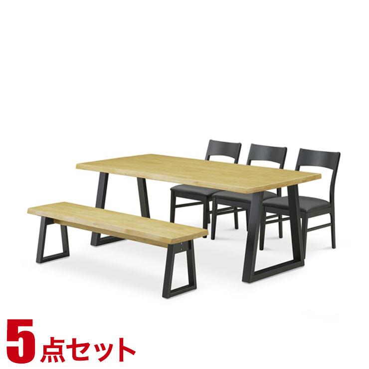 ダイニングテーブル ダイニング シンプル ライズ ダイニング5点セット(180テーブル・チェア3脚・149ベンチ1脚) 椅子 食卓 テーブル ラバーウッド無垢 シンプル モダン 新生活 完成品 輸入品 送料無料