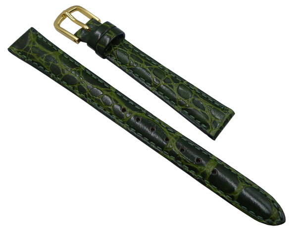 11mm セイコー 時計 ベルト 革 バンド  DD26 牛革ワニ型押 緑