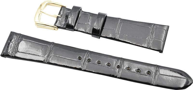 16mm セイコー ベルト 時計バンド DA06 クロコダイル 黒 【送料無料 ネコポスにて発送】