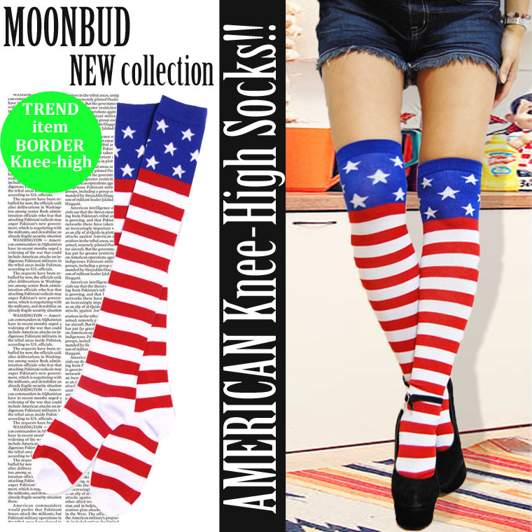 803becb20 American NY high socks one color   stars and stripes pattern   red red  white white ...