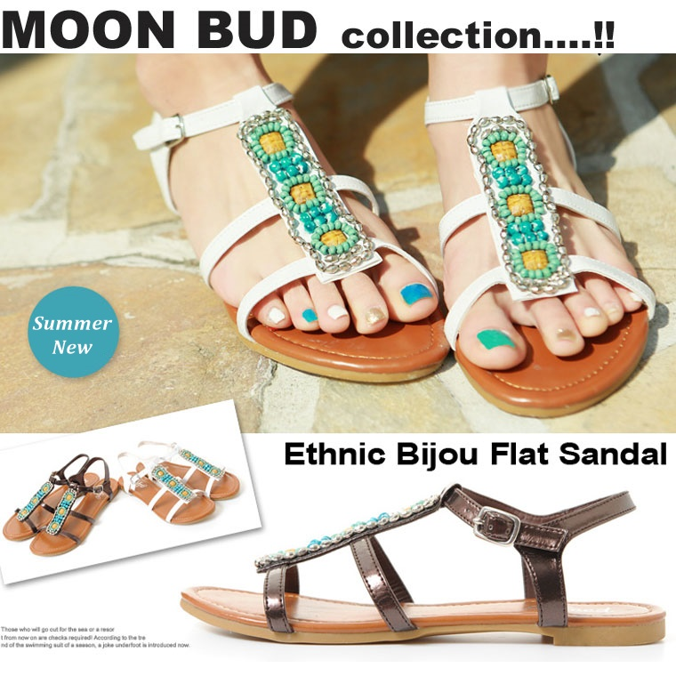 d71d72e6a0d94 Ethnic bijou flat sandals two colors   shoes   ぺたんこ   resort   tea brown    white white   shoes   Lady s   shoes   ankle belt   beads   tong☆