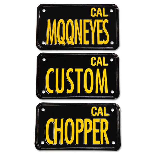 California Motorcycle license plate (black)