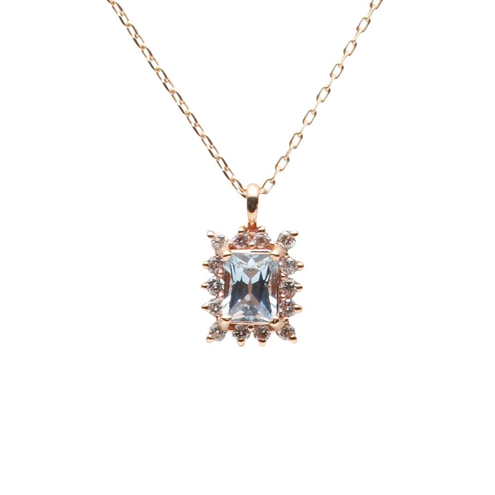 アクアマリン ネックレス ダイヤモンド Color Jewels ペンダント アクアマリン K10 レディース