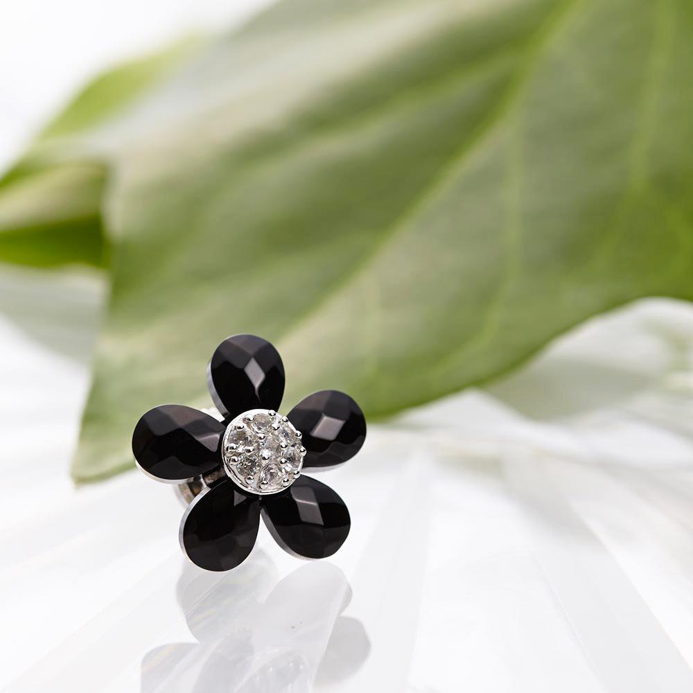 オニキス ブローチ Flower ブローチ (ブラック) レディース