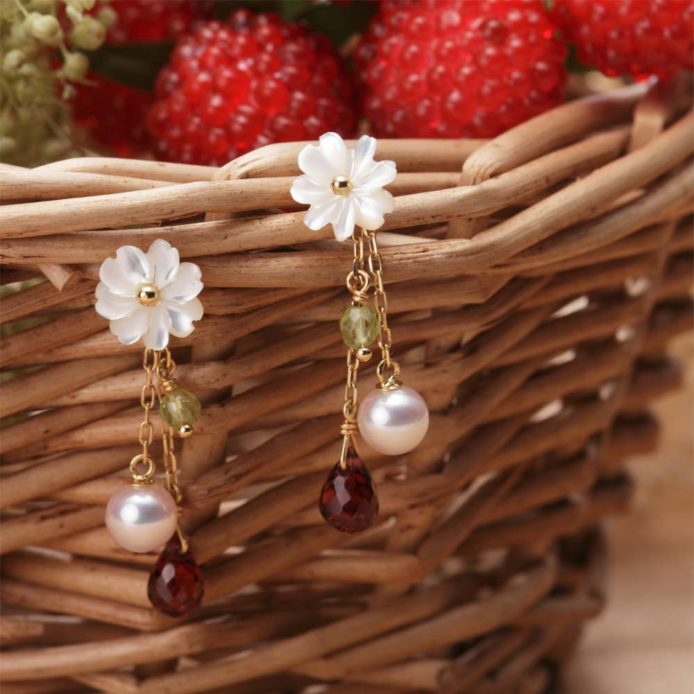 パール ピアス Strawberry ピアス K18 レディース