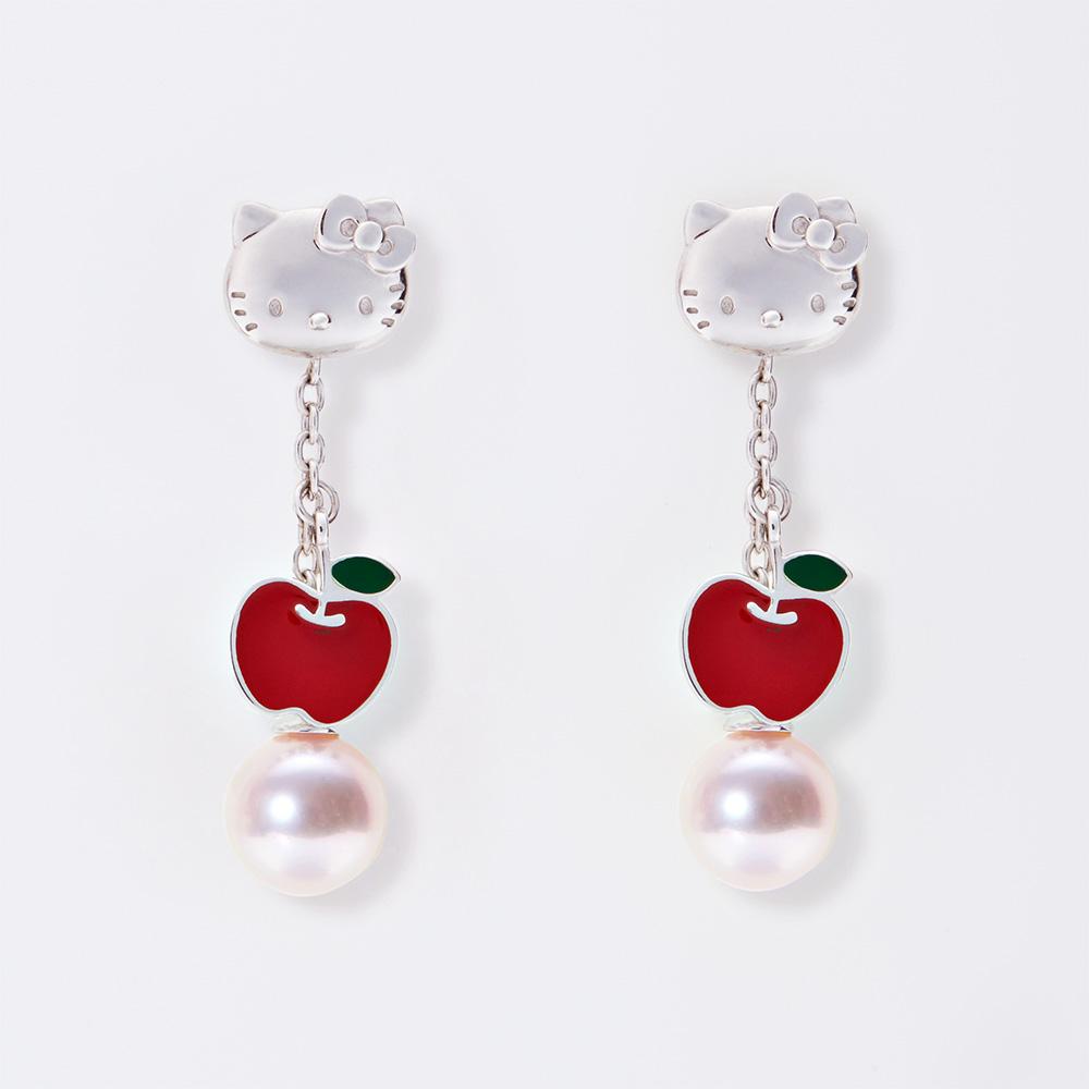 182931529 ... Hello Kitty pierced earrings Hello Kitty Swing Apple pearl pierced  earrings Lady's ...