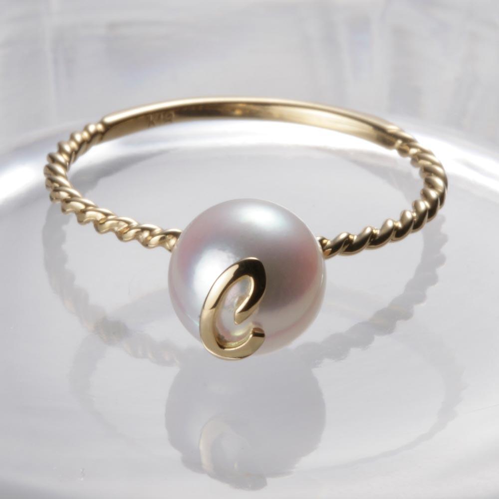 送料無料 真珠 指輪 アルファベット お値打ち価格で 18金 18K 誕生日 プレゼント パール 卓抜 C K18 リング ムーンレーベル レディース イニシャル