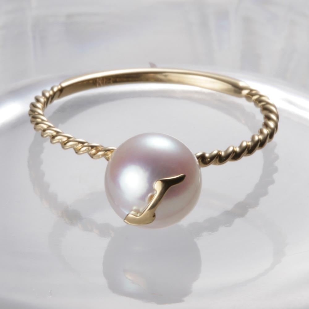 送料無料 真珠 指輪 アルファベット 18金 18K いよいよ人気ブランド 誕生日 プレゼント K18 激安通販販売 I レディース イニシャル リング パール ムーンレーベル