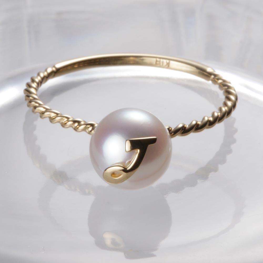 送料無料 真珠 指輪 SALE アルファベット 18金 18K 誕生日 プレゼント 好評 イニシャル ムーンレーベル K18 J レディース リング パール