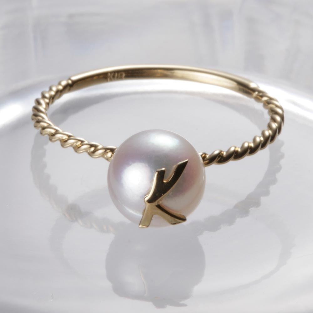 送料無料 在庫処分 真珠 指輪 アルファベット 18金 18K 誕生日 プレゼント リング K イニシャル レディース パール ムーンレーベル K18 商店