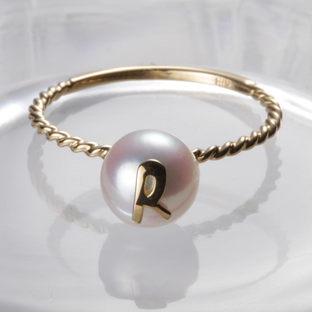 使い勝手の良い 送料無料 真珠 指輪 アルファベット 18金 新作多数 18K 誕生日 プレゼント K18 R レディース パール リング ムーンレーベル イニシャル