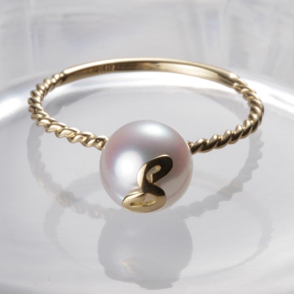 人気上昇中 送料無料 真珠 指輪 アルファベット 18金 18K 誕生日 プレゼント イニシャル レディース リング 与え ムーンレーベル パール S K18