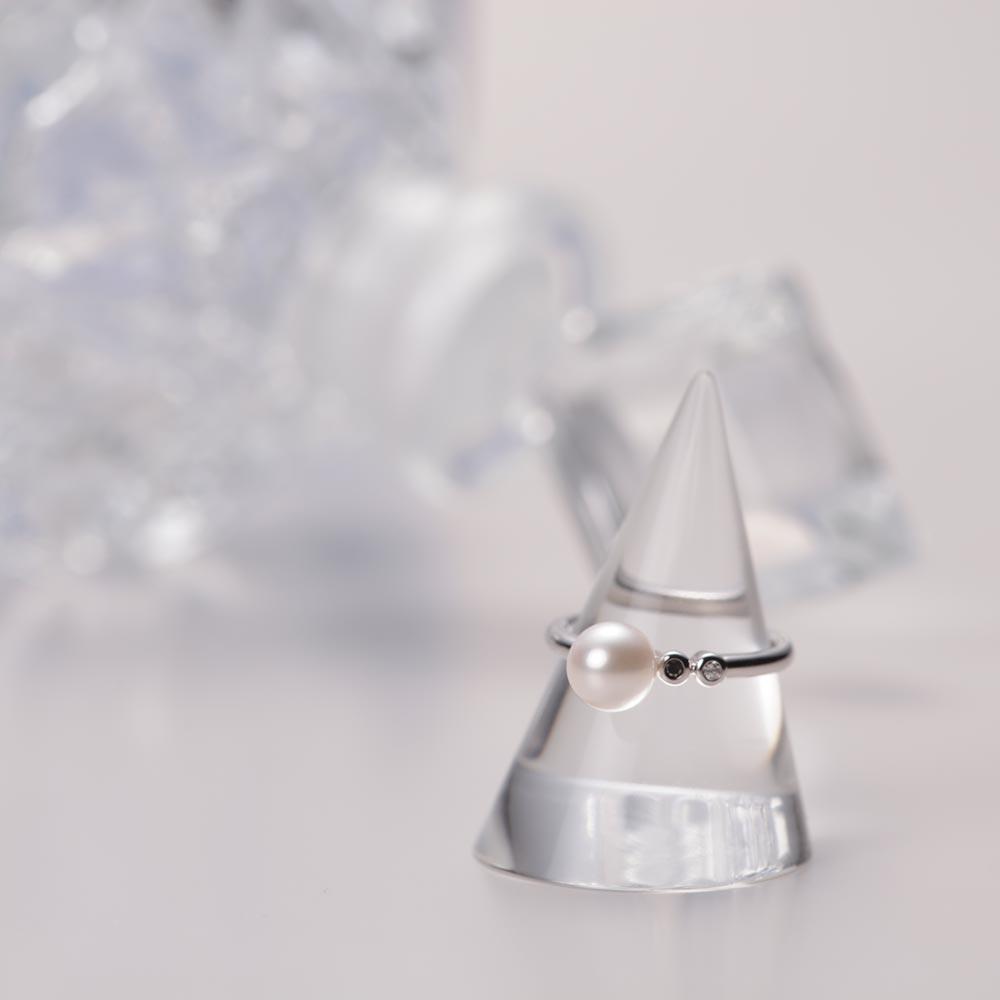 ダイヤモンド リング プチダイヤ & パール リング K18WG レディース