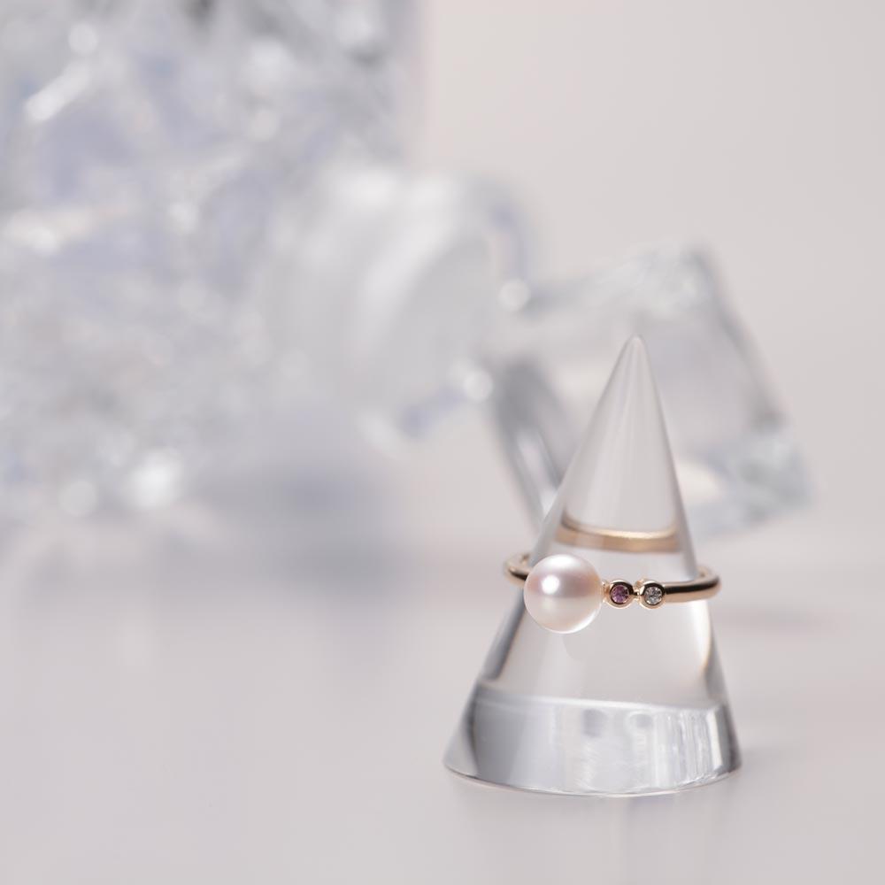 ダイヤモンド リング プチダイヤ & パール リング K18PG レディース