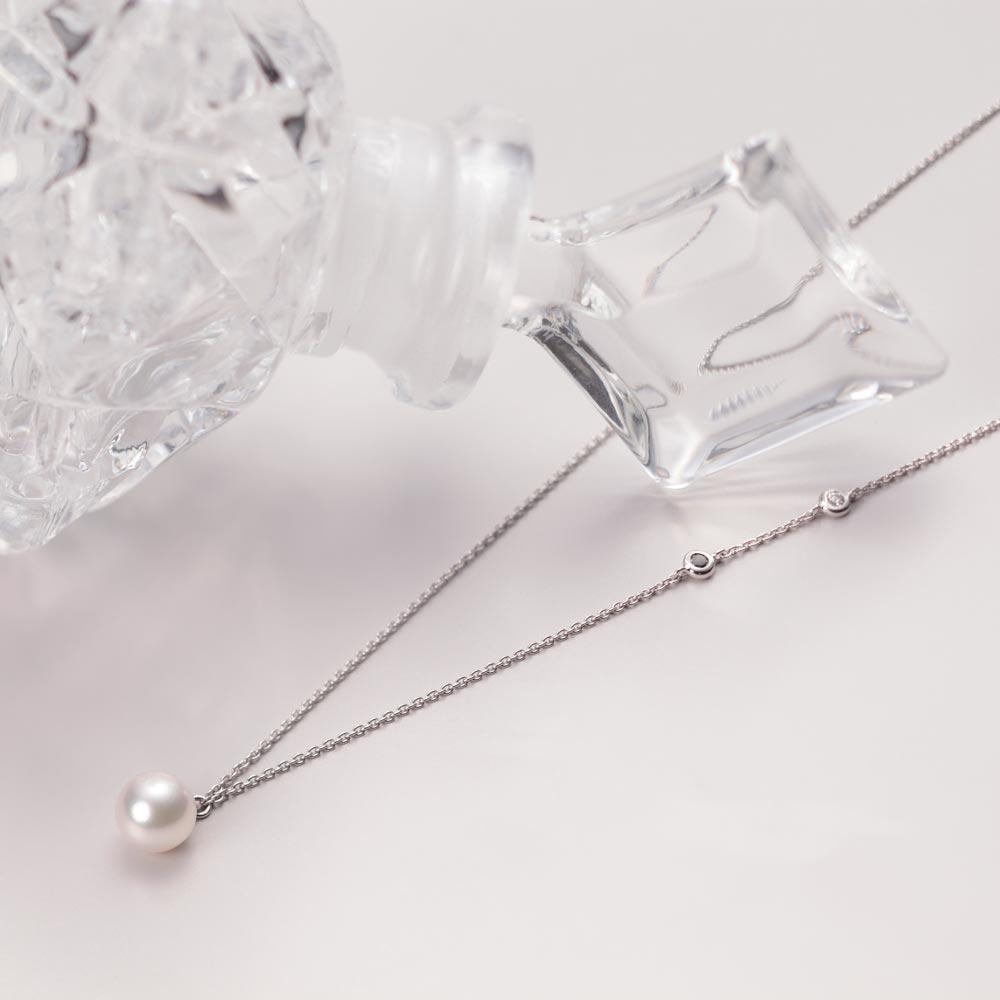 ダイヤモンド ネックレス プチダイヤ & パール ペンダント K18WG レディース