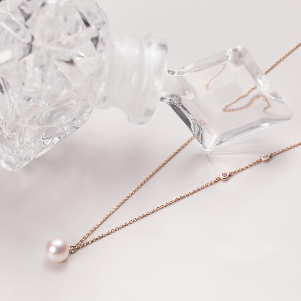 ダイヤモンド ネックレス プチダイヤ & パール ペンダント K18PG レディース
