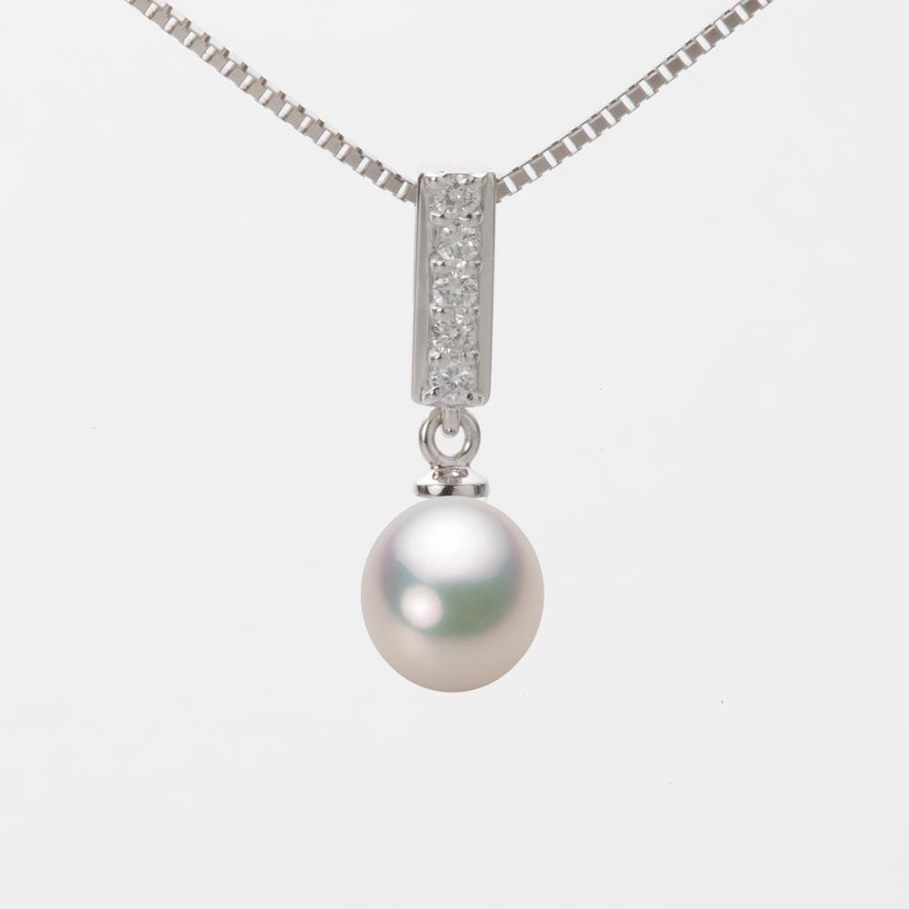 あこや真珠 パール ネックレス 7.0mm アコヤ 真珠 ペンダント K18WG ホワイトゴールド レディース HA00070D11CW0314W0