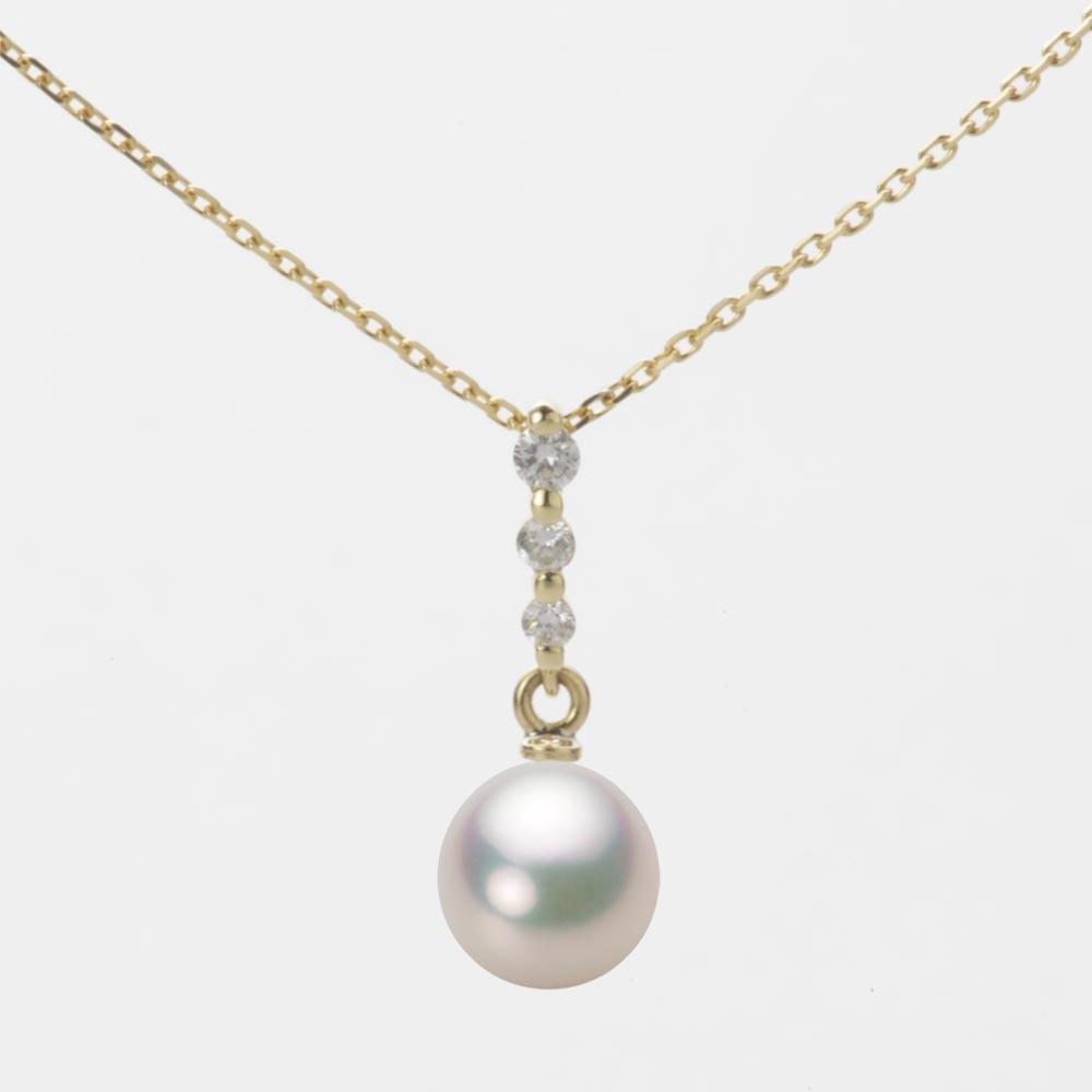 あこや真珠 パール ネックレス 7.0mm アコヤ 真珠 ペンダント K18 イエローゴールド レディース HA00070D11CW0797Y0